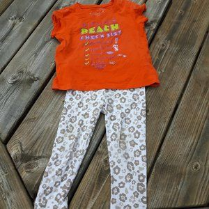 Kids Outfit 3T Beach tee and 2T patterned leggings